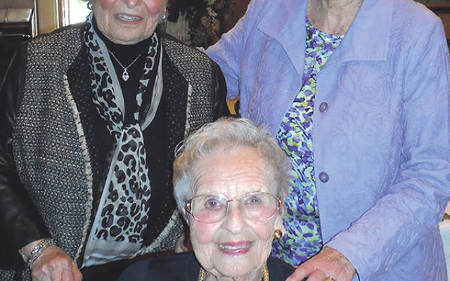 Lila Kantrowitz, right, president of the Maplewood/South Orange JWI, shares a moment with 70th anniversary luncheon cochairs Elaine Lieberman, left, and Dorothy Cohen.