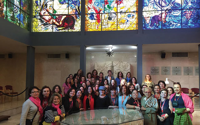 Jewish Women's Renaissance Project Momentum participants from Princeton Hadassah, L'Dor V'Dor of Central Jersey, and the Shalom Heritage Center join with a group of Russian women from Indianapolis at the Abbell Synagogue at Hadassah Medi