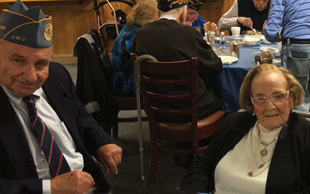 Ruth Hyman and Gerald Levine at the April meeting of Jersey Shore Post 125 of the Jewish War Veterans.