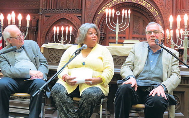 Jazz critic Dan Morgenstern, left, WBGO radio host Sheila Anderson, and NJPAC president/CEO John Schreiber discuss the sometimes supportive, sometimes stormy relationship between African-Americans and Jews in the jazz world.