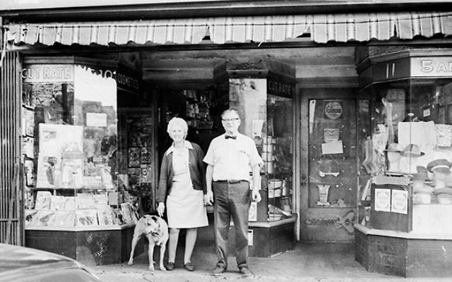 Sadie and Herman Kaplowitz in front of their general store, Pacific Cut-Rate 5 & 10, once located on Pacific Avenue in Jersey City. They ran the shop from 1937 until 1979 when they retired to Florida. Photos by Jeff Kaplowitz