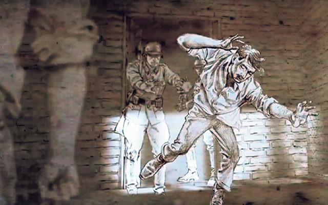 A scene in animation by Tomasz Niedzwiedz from Karski & the Lords of Humanity.