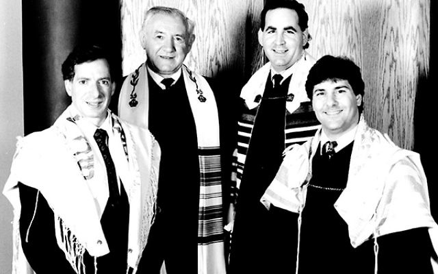 Hazzan Arthur Katlin, right, with fellow Mercer County cantors, from left, Robert Freedman, David Wisnia, and Stuart Binder, in 1992