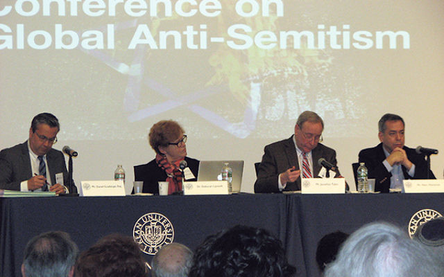 A panel on global anti-Semitism at Kean University on March 13, included, from left, attorney Dan Guadalupe; Deborah Lipstadt, professor at Emory University; Jonathan Tobin, chief political blogger at Commentary; and Mark Weitzman of the Simon Wiesenthal