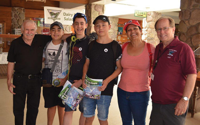 At the Gottscho kidney camp program, from left, Dr. Lew Reisman; Israeli teens Bar-Shalom Azulay, Aviv Bar-Or, and Stiven First; Neomi Zanhendler; and Frost Valley YMCA CEO Jerry Huncosky.