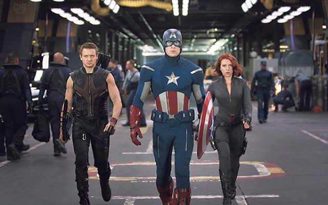 Captain America, pictured here in center among other characters in the forthcoming film Avengers: Age of Ultron, was cocreated by Jewish comic artist Jack Kirby.