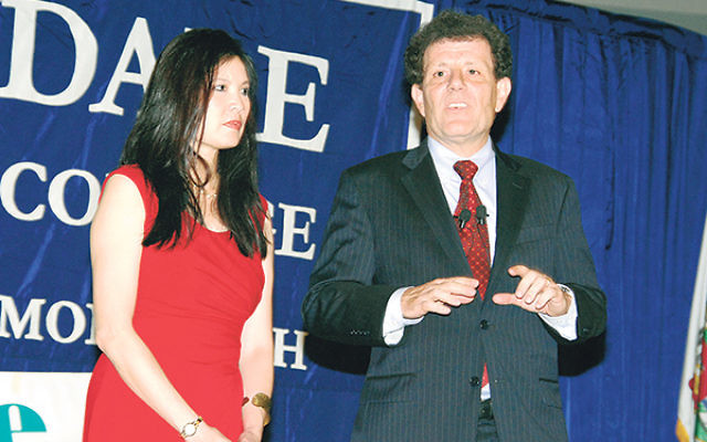Both Sheryl WuDunn and Nicholas Kristof delivered messages of optimism regarding efforts to right social injustices at a program sponsored by Chhange at Brookdale Community College.