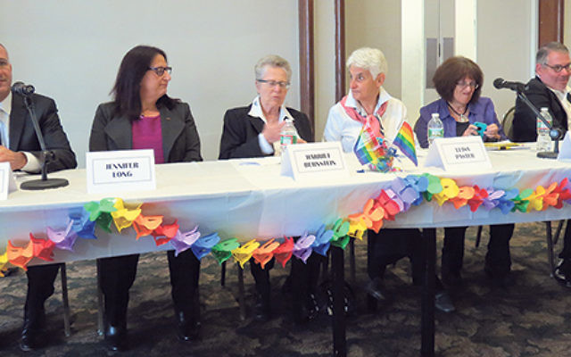 Panelists at the NCJW Lunch and Learn, from left, Rabbi Daniel Cohen, Jennifer Long, Harriet Bernstein, Luisa Paster, Hannah Lieberman, and Lee Rosenfield.