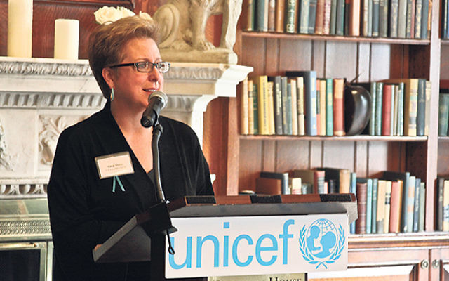 Main Event, Monmouth Edition, speaker Caryl M. Stern, of the U.S. Fund for UNICEF, said her organization embodies Jewish values like tikun olam.