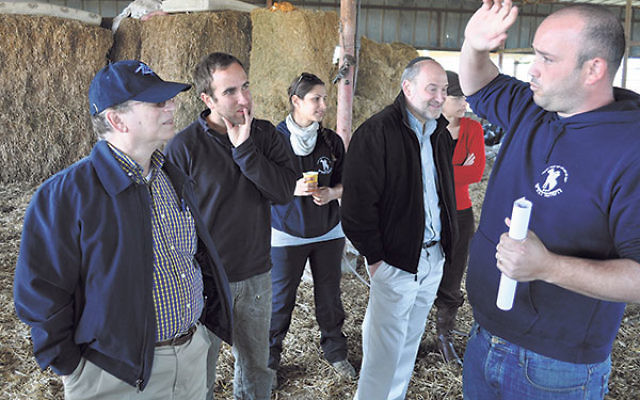 On a 2012 tour of projects in Israel initiated by the MetroWest and Central federations in advance of their merger, Kleinman, left, and other federation leaders visit a Negev farm, where they heard about Hashomer Hahadash, a volunteer organization that he