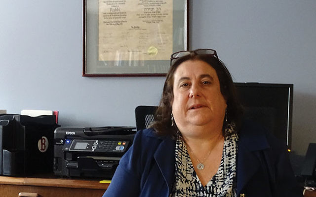 Rabbi Estelle Mills in her office at Temple Shalom in Succasunna.