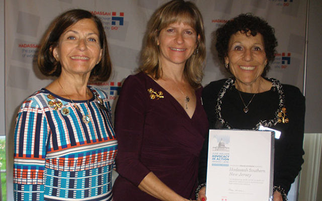 Hadassah Southern NJ region president Michelle Krasner, left, congratulates Laura Brandspiegel, center, of East Windsor and Joyce Cohen of Princeton Junction, who received the June Walker Advocacy in Action Award from national Hadassah for chairing last y