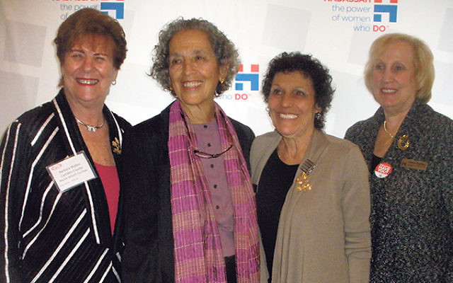 At the Myrtle Wreath luncheon, AJWS president Ruth Messinger, second from left, joins Hadassah Southern NJ leaders, from left, event cochairs Barbara Walkes and Joyce Cohen and region president Sherryl Kaufman.
