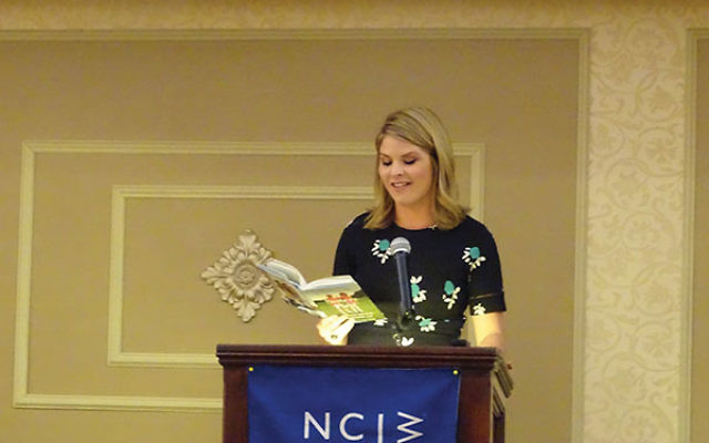 "Jenna Bush Hager reads an excerpt from ""Sisters First,"" her collection of reminiscences coauthored by her sister, Barbara Pierce Bush, about growing up as the twin daughters of President George W. Bush. Photo by Robert Wiener"