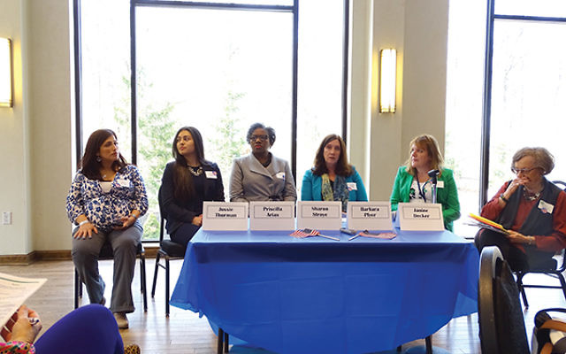 The Essex County chapter of National Council of Jewish Women hosted an open discussion with a panel, including female veterans, on sexual harassment in the U.S. armed forces. Photos by Robert Wiener