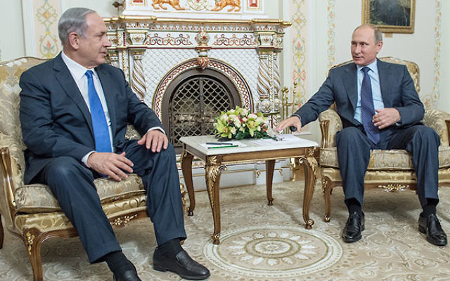 Russian President Vladimir Putin, right, meeting with Israeli Prime Minister Benjamin Netanyahu during their talks in Novo-Ogaryovos State Residence in Moscow, Sept. 21, 2015. (Dmitri Azarov/Kommersant Photo via Getty Images)