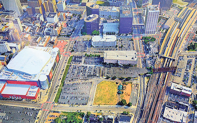 Aerial photograph of the downtown Newark area to be converted into Triangle Park.