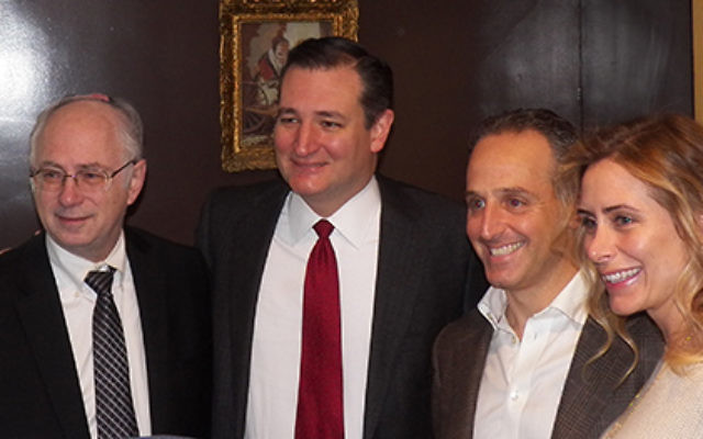 Sen. Ted Cruz, second from left, at a NORPAC fund-raiser in Englewood with the organization's president, Ben Chouake, far left, and the hosts of the benefit, Ben and Batya Klein.