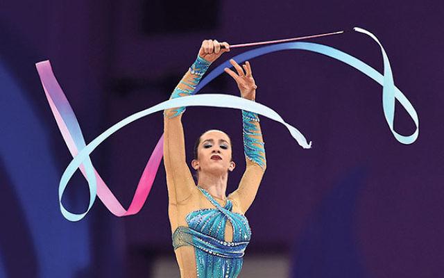 Israeli gymnast Neta Rivkin — competing here in the women's rhythmic gymnastics all-around individual final at the Baku 2015 European Games in Baku, Azerbaijan, June 19, 2015 — is one of Israel's best hopes to medal.  &