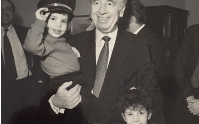 Shimon Peres with the author's then-three-year-old son and six-year-old daughter at the 1993 Jewish Council for Public Affairs Plenum in Washington, DC