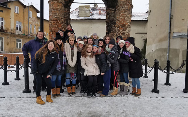 Rutgers University students in front of the burned-out synagogue in Tarnow. They are part of what will likely be the last generation to have first-hand contact with Holocaust survivors. Photos courtesy MEOR