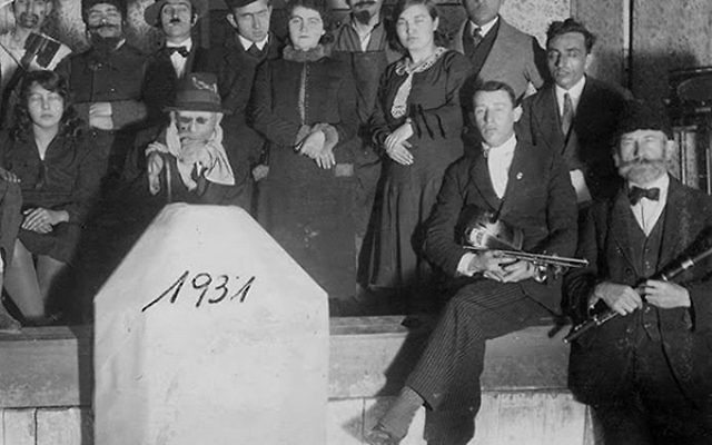 The 1931 Drama Club-Dubiecko, Poland. Brooks's father's cousin, Moshe Marshalek, who performed at weddings with the Frand Family Klezmorim, sits above the 1931 marker.