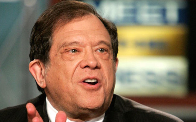 "Rabbi Michael Lerner speaking during a pre-tape of ""Meet the Press"" at the NBC studios in Washington, D.C., April 12, 2006."