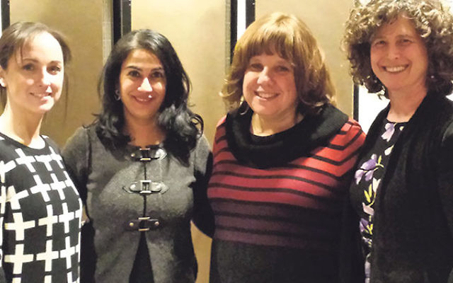 Conducting training for the Rachel Coalition's Court Advocate Program on April 5 were, from left, Shari Bloomberg, Suzanne Groisser, Michele Frank, and Anju Chhugani.