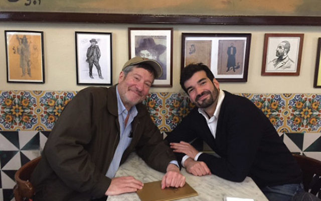Victor Sorensenn, right, director of the Barcelona Jewish community, with the author at the Els Quatre Gats restaurant, a favorite of Pablo Picasso.