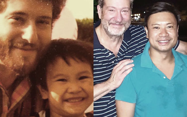 Left, the author, with the youngest child ofthe family of Vietnamese refugees circa 1980;right, the author and the same boy, nowgrown, taken in Hoi An, Vietnam, just days after his wedding.