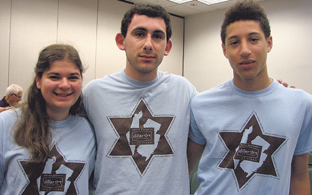 Members of the Diller Teen Fellows, including, from left, Micaela Kaplan of Summit, Steven Waxman of Livingston, and Daniel Gerstein of Maplewood, attended the July 21 rally in support of Israel.
