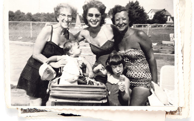 Gussie Popick, left, owner of Popick's Bungalows in Mount Freedom, with her daughter, Selma Popick Blumenthal, an unidentified woman, and Selma's daughters, Nancy, left, and Donna.