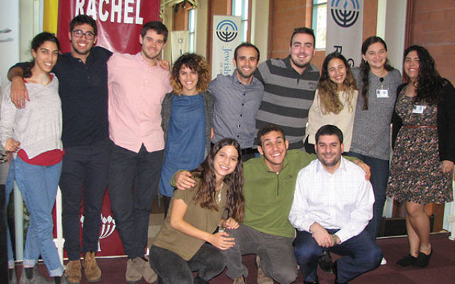Joining community shaliah Moshe Levi, front, right, and shliha Moran Shevach are the new emissaries from Israel, front row, Coral Sasson, 18, of Rishon Letzion and Shai Tahan, 18, Rosh Pina; and, back row, from left, Stav Khoubian, 18, R
