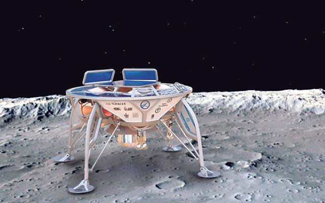 An artist's rendering of the lunar robot that SpaceIL hopes to land on the moon