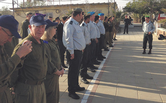 Art Fredman, foreground, facing camera, at roll call on the Negev army base during his Sar-El service.