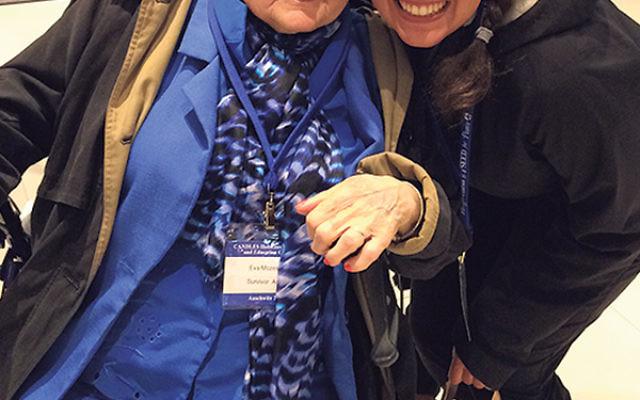 Holocaust scholar Gabrielle Conlin with survivor Eva Mozes Kor, preparing to depart for their visit to Auschwitz-Birkenau this summer.