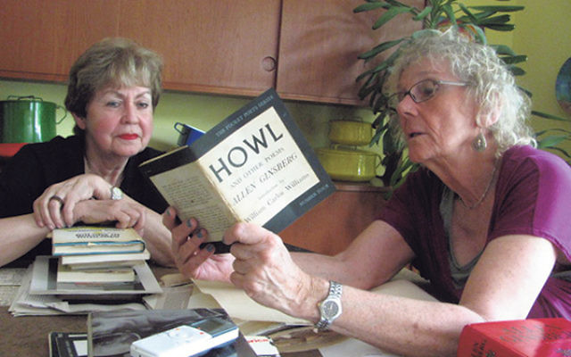 Essex County Freeholder Pat Sebold, right, reminisces about her cousin, poet Allen Ginsberg, with Linda Forgosh, executive director of the Jewish Historical Society of New Jersey.