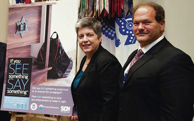 Paul Goldenberg, national director of the Secure Community Network, meets with Secretary Janet Napolitano, then secretary of U.S. Homeland Security, in 2013.