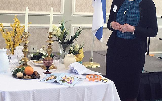 Rabbi Adena Blum leads the Village Grande Hadassah Women's Seder.