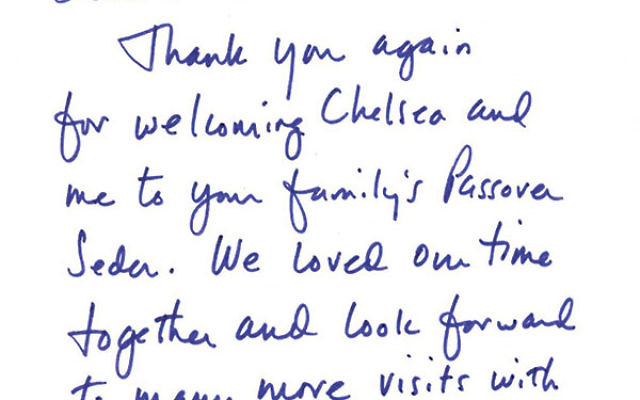 Hillary Clinton's letter to the Fine family after attending their Passover seder in 2000.