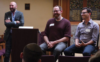 The young minds pushing to publish Jewish texts online include, from left, Daniel Septimus, Brett Lockspeiser, and Joshua Foer.
