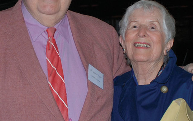 """The Remembrance Day program honored the late Seymour """"Sy"""" Siegler, left, a founder of the Holocaust educational center at Brookdale Community College in Lincroft. Siegler is pictured with survivor Helena Flaum, who was a panelist at the Jan. 3"""