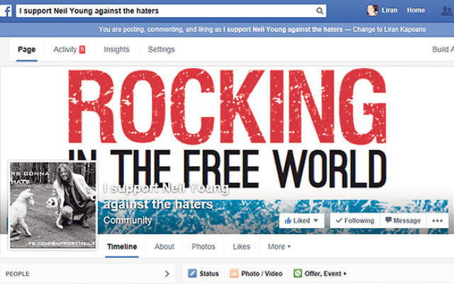 "The Facebook page supporting Neil Young, a play on the rock singer's hit, ""Rockin' in the Free World."" The page was launched by three Rutgers graduates to support Young, who is being pressured by the anti-Israel Boycott, Divestment"