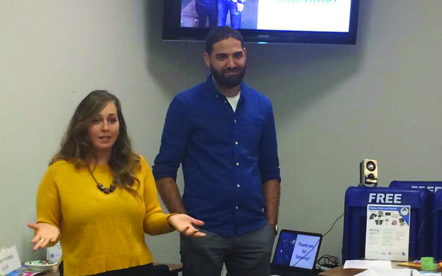 Former IDF soldiers Haitham and Karen spoke at Jewish Federation in the Heart of NJ's Super Sunday fund-raiser as part of their tour for the Israel Advocacy organization StandWithUs. Photo courtesy Jewish Federation in the Heart of NJ