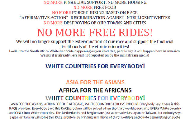 A leaflet recently distributed by the Advanced White Society in parts of New Jersey.
