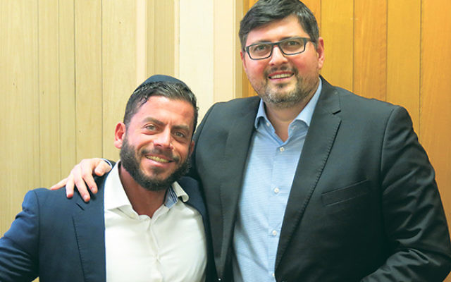 Csanad Szegedi, right, and his Hungarian-English interpreter, Jonatan Megyeri, on the campus of the Rabbinical College of America in Morristown.