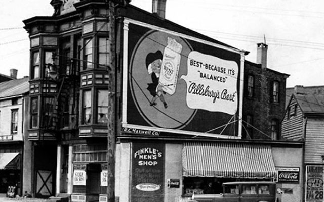 The dry goods store owned by Art Finkle's grandfather, Sam Finkle, who began as a peddler and had a store on Union Street before moving to this location, the corner of Willow and Spring Streets.