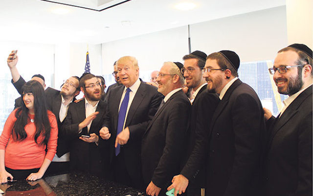 Donald Trump held a 20-minute question-and-answer session with Jewish reporters at his offices at Trump Tower in New York City, April 14.