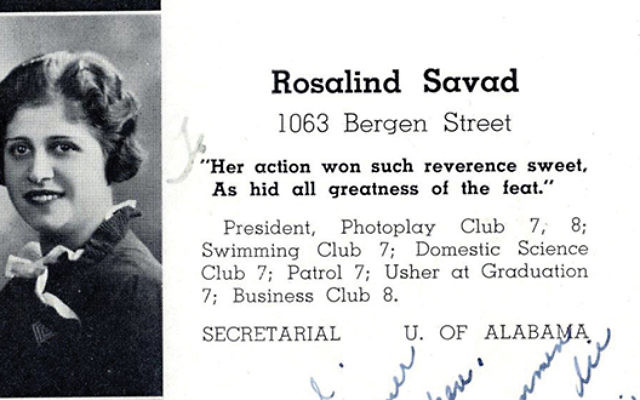The yearbook photo of Rosalind Savad, the oldest living member of Weequahic High School's class of 1934. Photo courtesy Jewish Historical Society of NJ