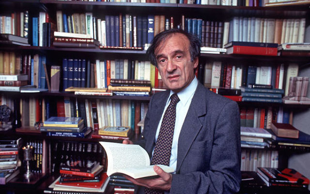 Elie Wiesel, the author of over 50 books, in the study at his home in New York City, Oct. 14, 1986. (Allan Tannenbaum/Getty Images)